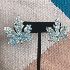 Vintage maple leaf clip earrings.